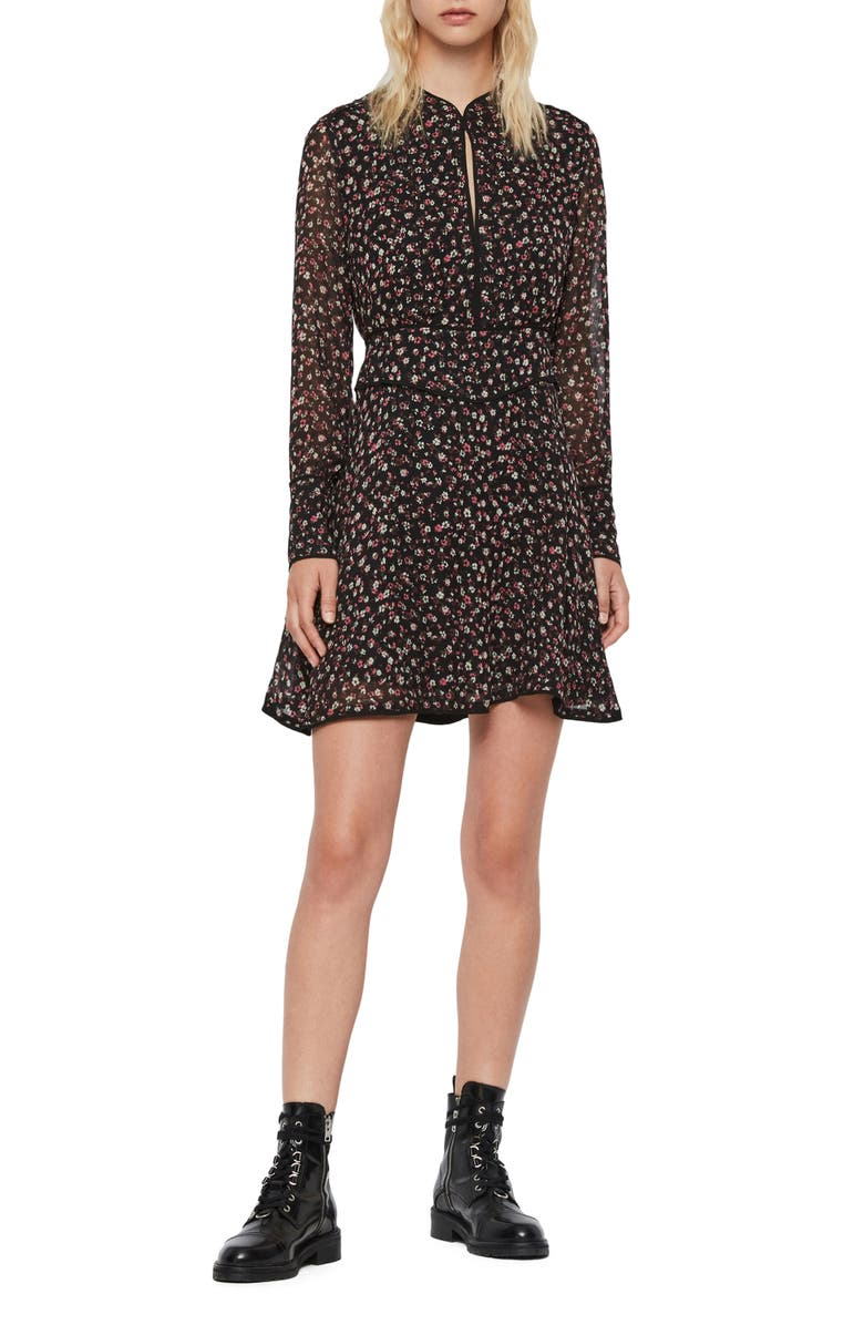 ALLSAINTS Kay Ditz Floral Print Long Sleeve Dress, Main, color, BLACK