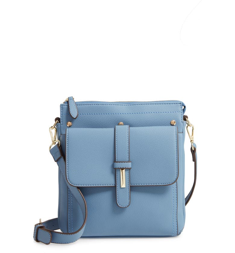 SONDRA ROBERTS Faux Leather Crossbody Bag, Main, color, BLUE
