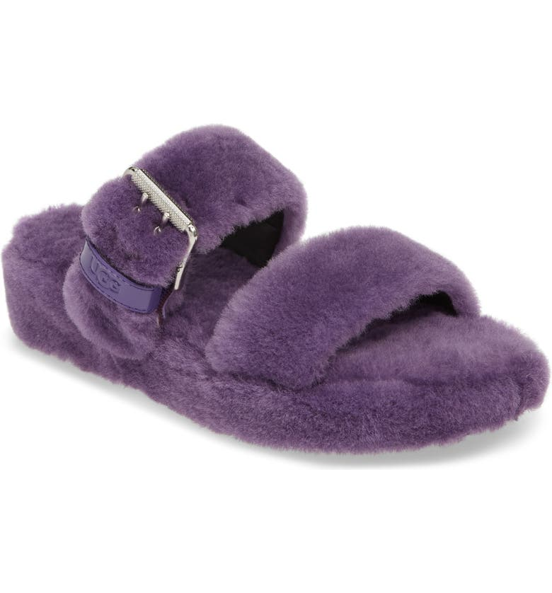UGG<SUP>®</SUP> Fuzz Yeah Genuine Shearling Slipper, Main, color, VIOLET BOOM