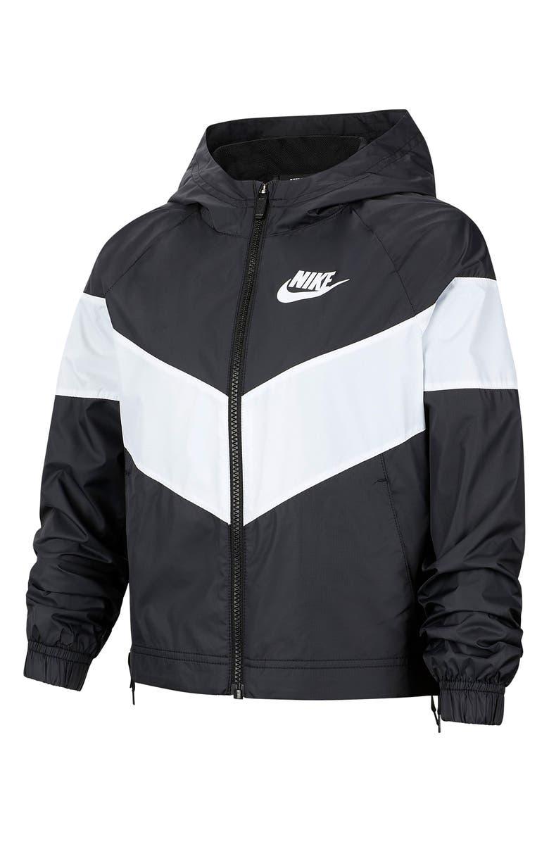 NIKE Sportswear Windrunner Rain Jacket, Main, color, BLACK/ WHITE/ WHITE