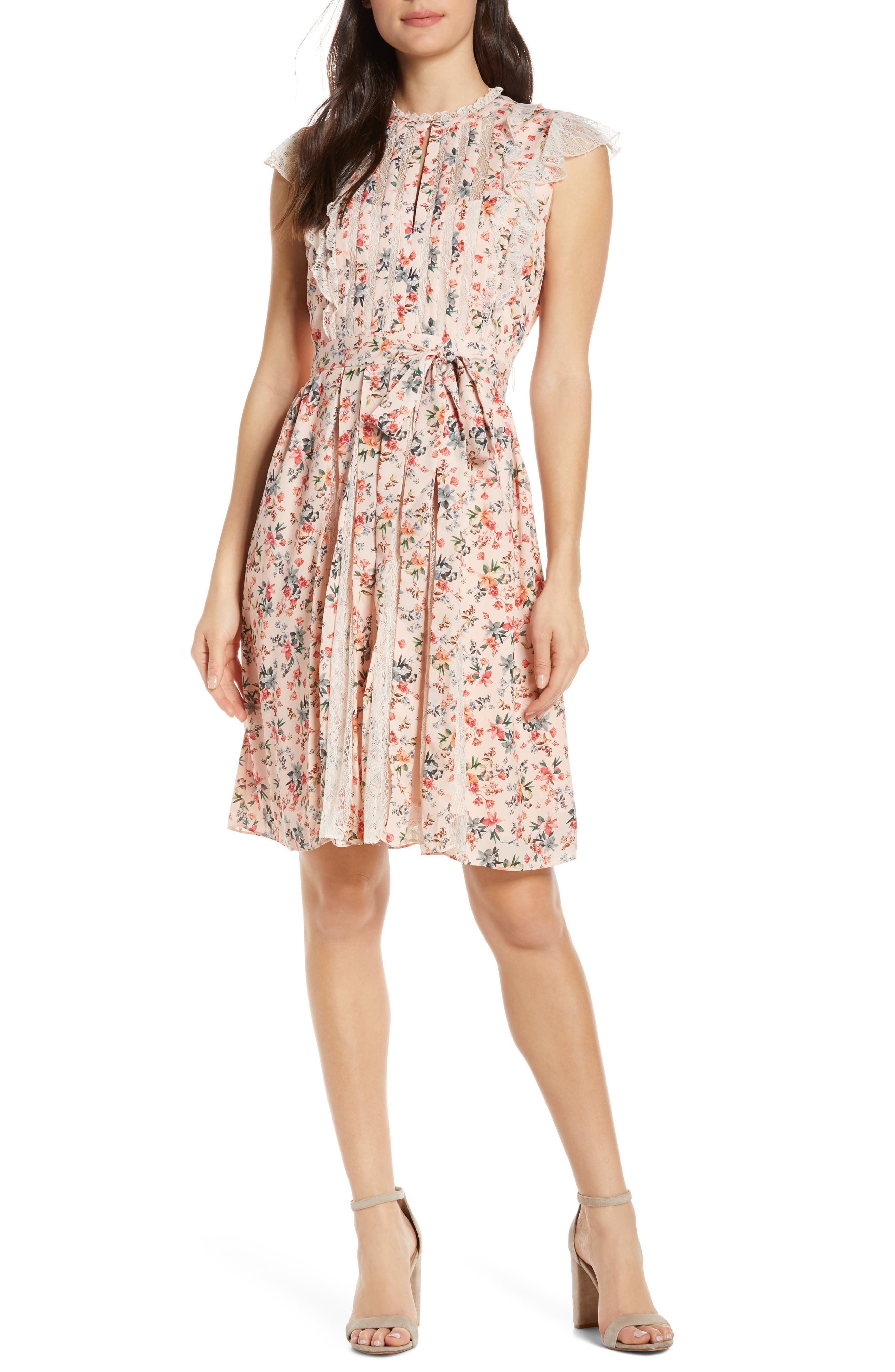 French Connection Eva Light Mix Sleeveless Dress, Red