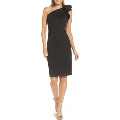 Eliza J One-Shoulder Sheath Cocktail Dress, Black