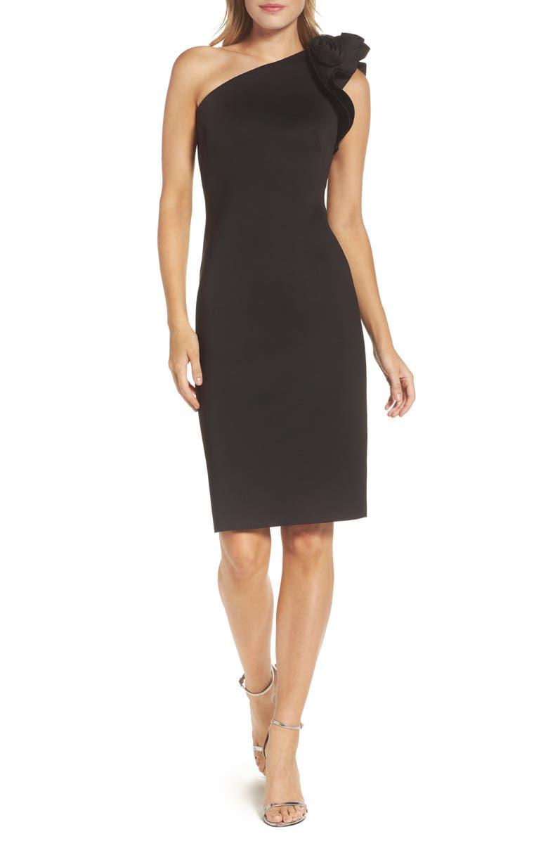 ELIZA J One-Shoulder Sheath Cocktail Dress, Main, color, BLACK