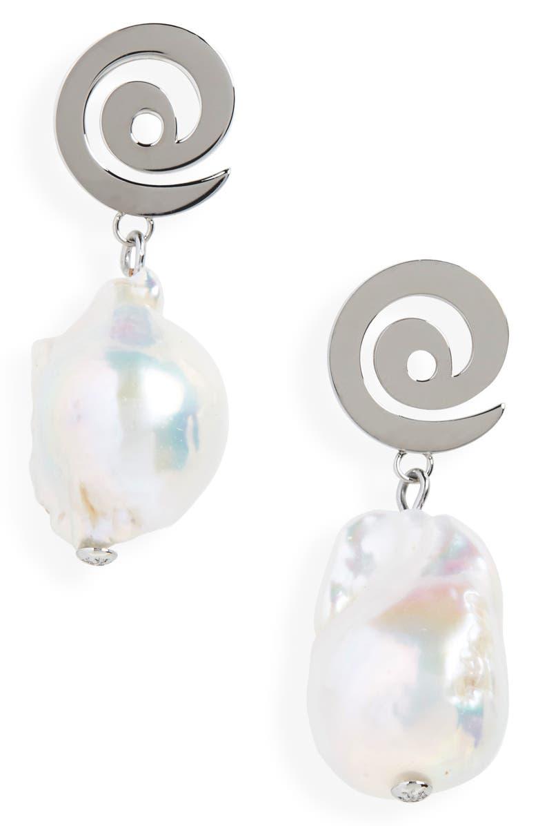 Tory Burch Spiral Pearl Earrings