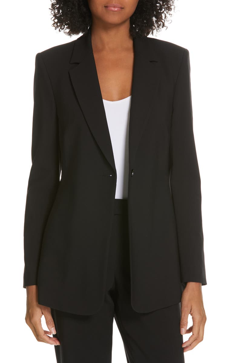 JUDITH & CHARLES Contour Suit Jacket, Main, color, BLACK