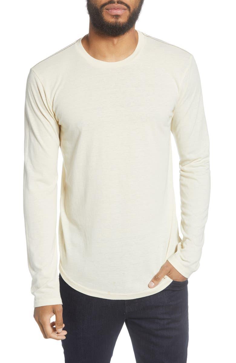 GOODLIFE Triblend Scallop Long Sleeve Crewneck T-Shirt, Main, color, 101