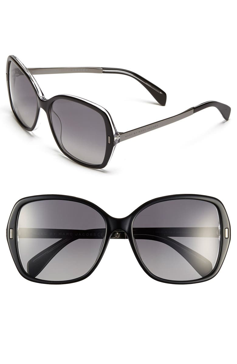 MARC BY MARC JACOBS 57mm Oversized Polarized Sunglasses, Main, color, 001