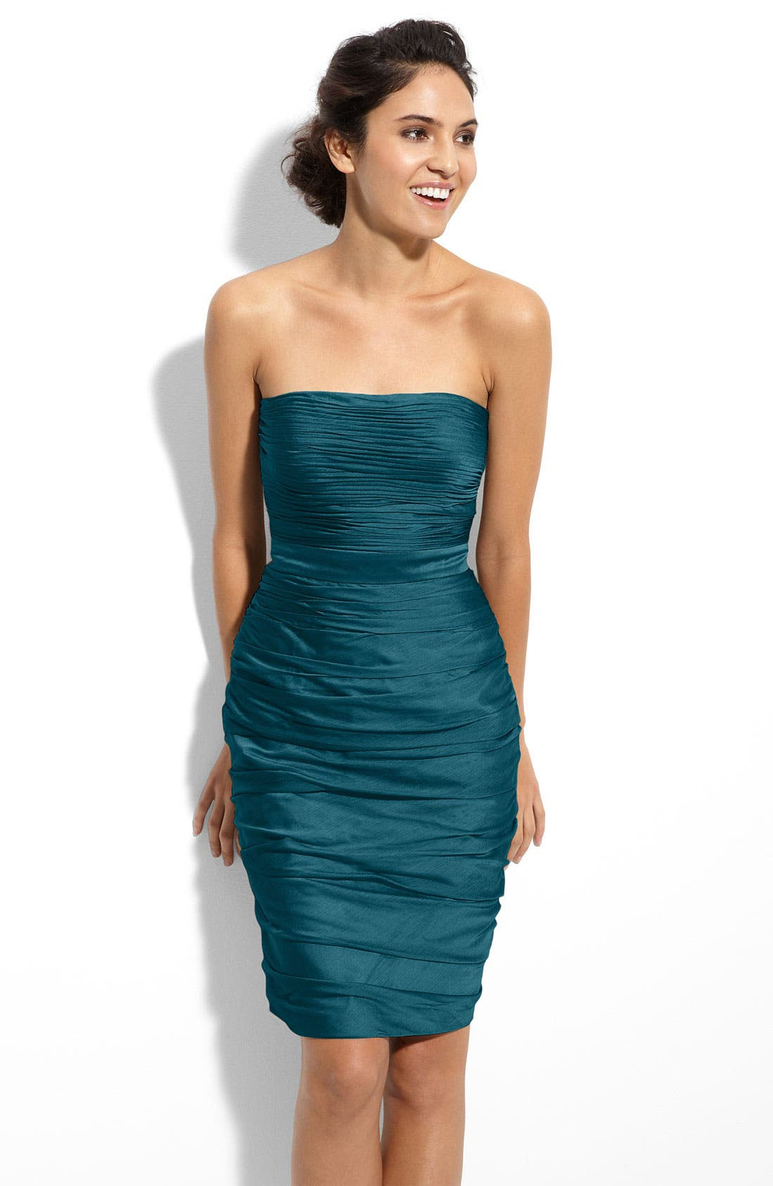 ,                             Ruched Strapless Cationic Chiffon Dress,                             Main thumbnail 46, color,                             440