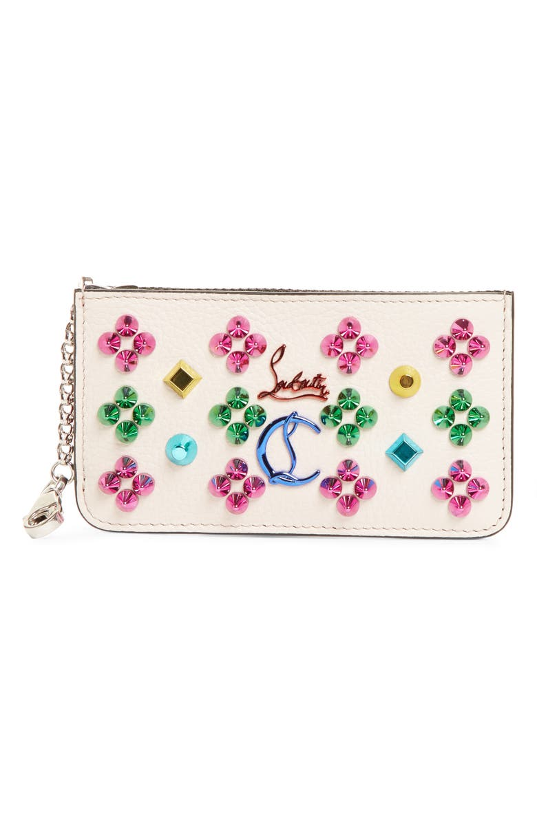 CHRISTIAN LOUBOUTIN Credilou Studded Leather Card Case, Main, color, IVORY/ MIX MULTI METAL