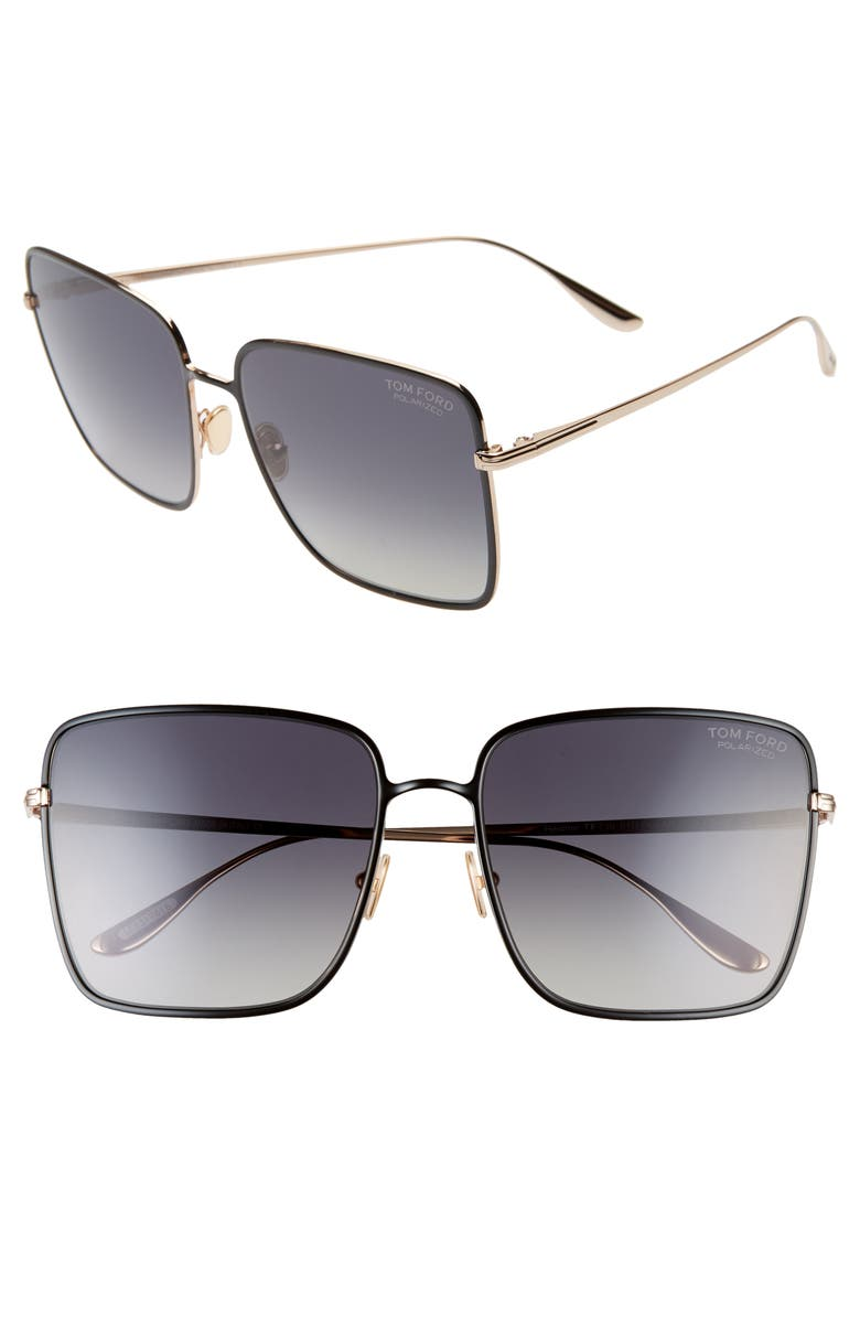 TOM FORD Heather 60mm Polarized Flat Front Square Sunglasses, Main, color, SHINY BLACK/ SMOKE