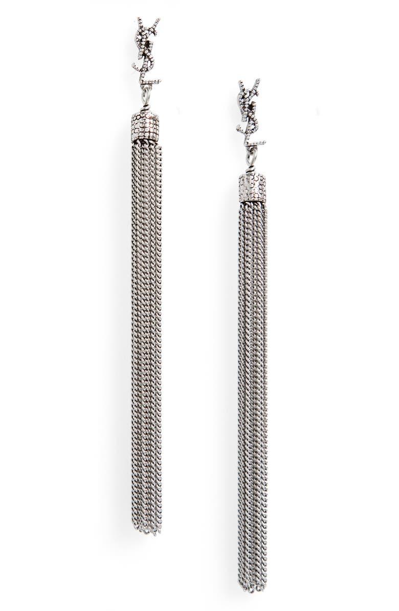 SAINT LAURENT Loulou Linear Drop Earrings, Main, color, 040