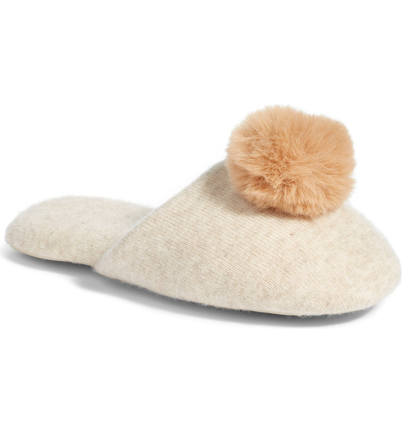 3a6c5d777 Nordstrom Wool & Cashmere Slippers with Faux Fur Pompom | Nordstrom
