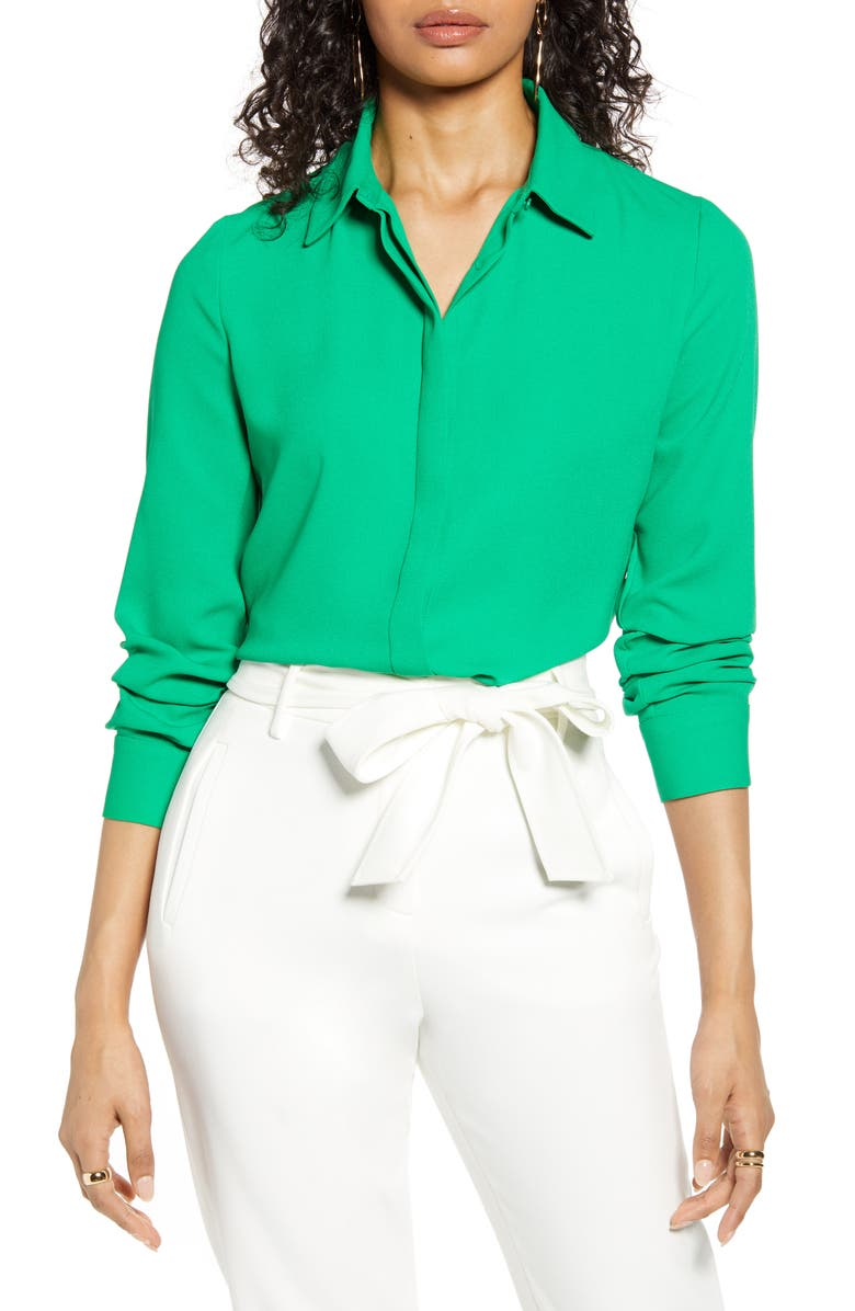 HALOGEN<SUP>®</SUP> Hidden Button Long Sleeve Blouse, Main, color, GREEN JOLLY