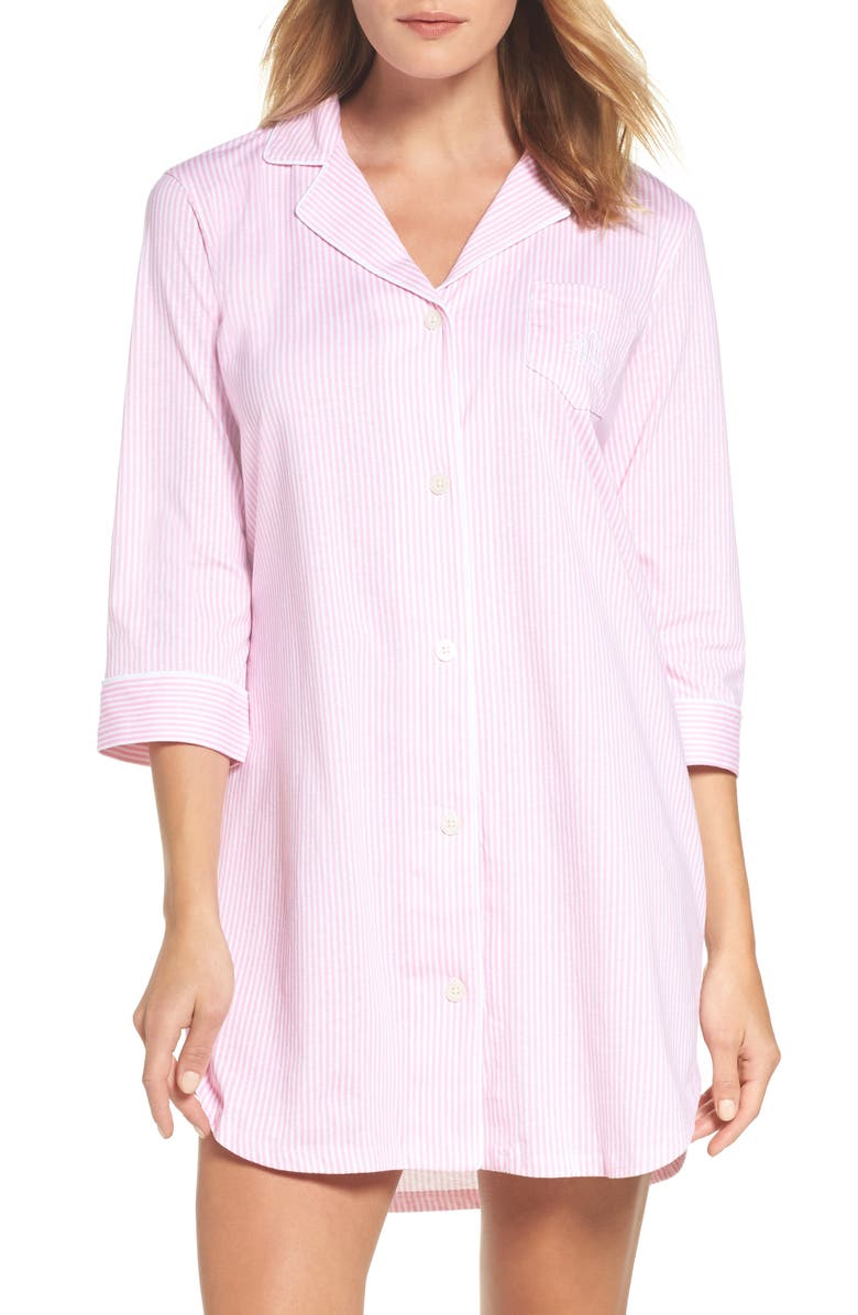 LAUREN RALPH LAUREN Cotton Jersey Sleep Shirt, Main, color, LAGOON PINK/ WHITE STRIPE