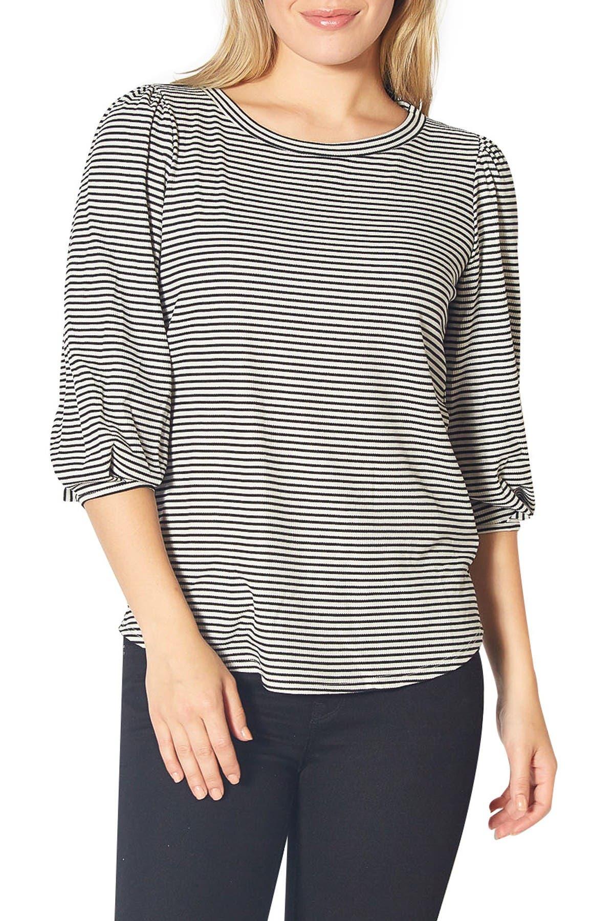 Image of Pleione 3/4 Length Sleeve Stripe Top