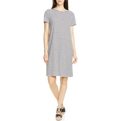 Petite Eileen Fisher Stripe Organic Linen Shift Dress, White
