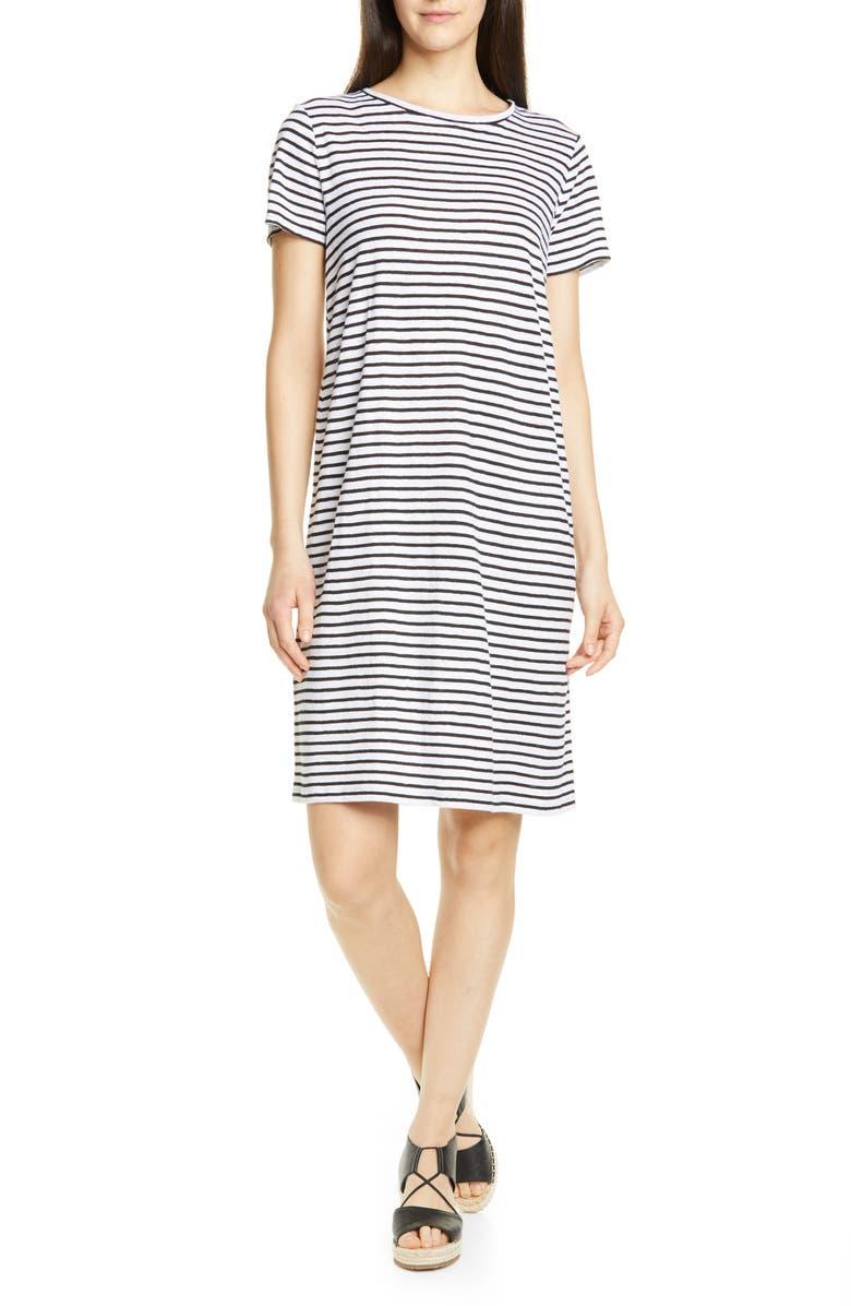 EILEEN FISHER Stripe Organic Linen Shift Dress, Main, color, WHITE/ BLACK