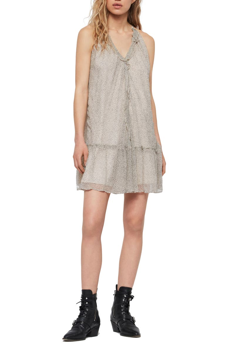 ALLSAINTS Maisie Speckle Shift Dress, Main, color, OYSTER WHITE