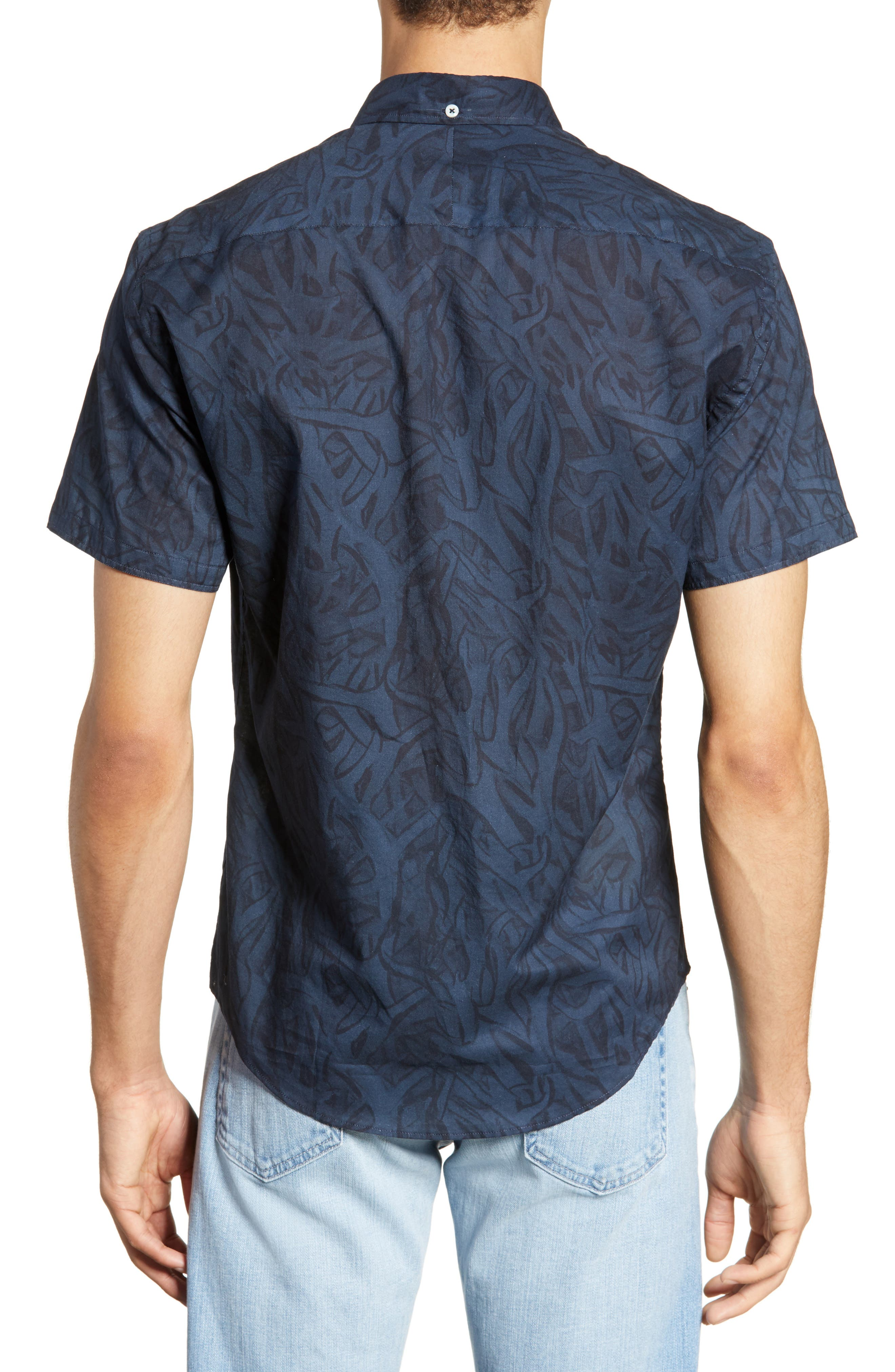 ,                             Kirby Antlers Slim Fit Woven Shirt,                             Alternate thumbnail 3, color,                             BLUE/ NAVY