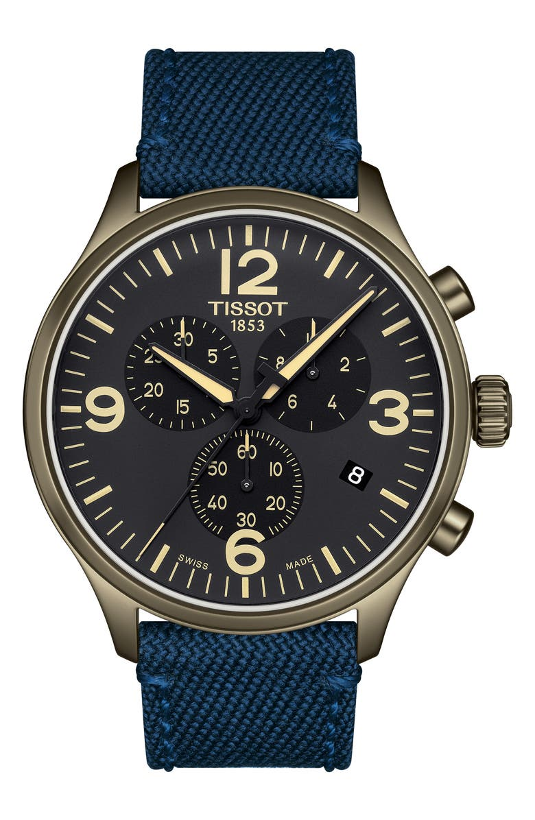 TISSOT Chrono XL Collection Textile Strap Watch, 45mm, Main, color, BLUE/ BLACK