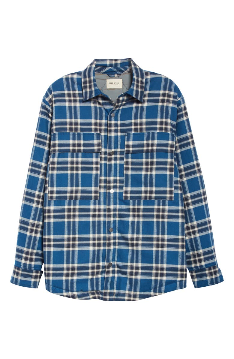 FEAR OF GOD Oversize Plaid Snap-Up Flannel Shirt Jacket, Main, color, BLUE PLAID