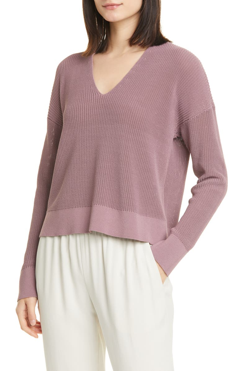EILEEN FISHER Boxy V-Neck Pullover, Main, color, MAUVE