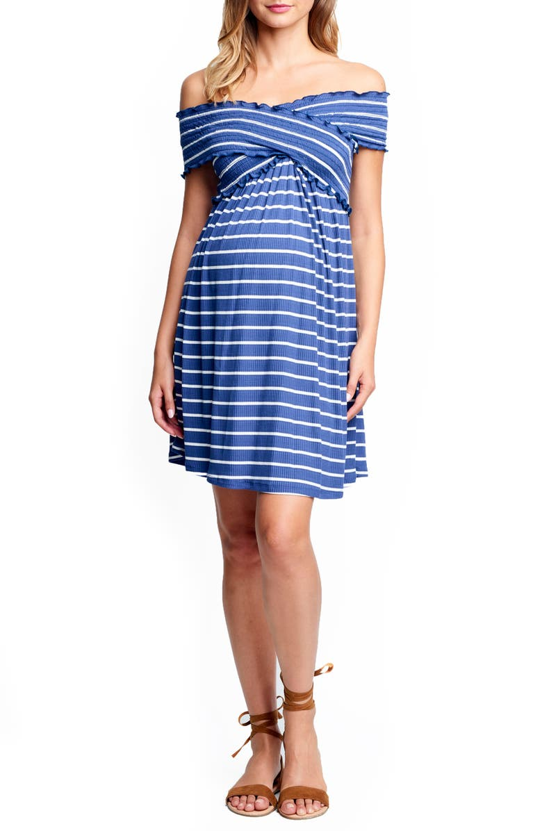 MATERNAL AMERICA Off the Shoulder Ribbed Maternity Dress, Main, color, INDIGO STRIPE