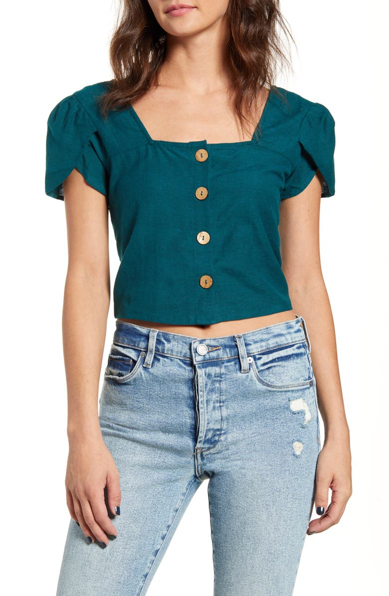 BILLABONG Something Special Crop Top, Main, color, DEEP JADE