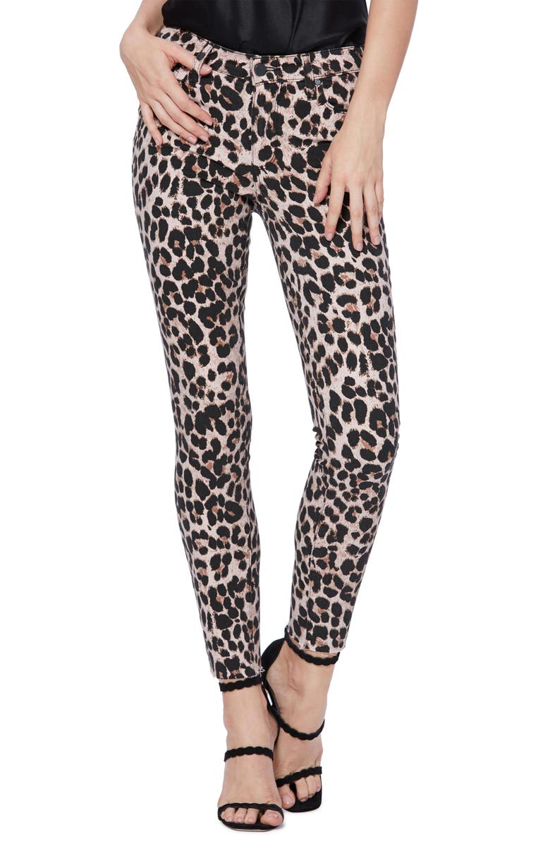 PAIGE Hoxton High Waist Raw Hem Ankle Skinny Jeans, Main, color, PINK LEOPARD