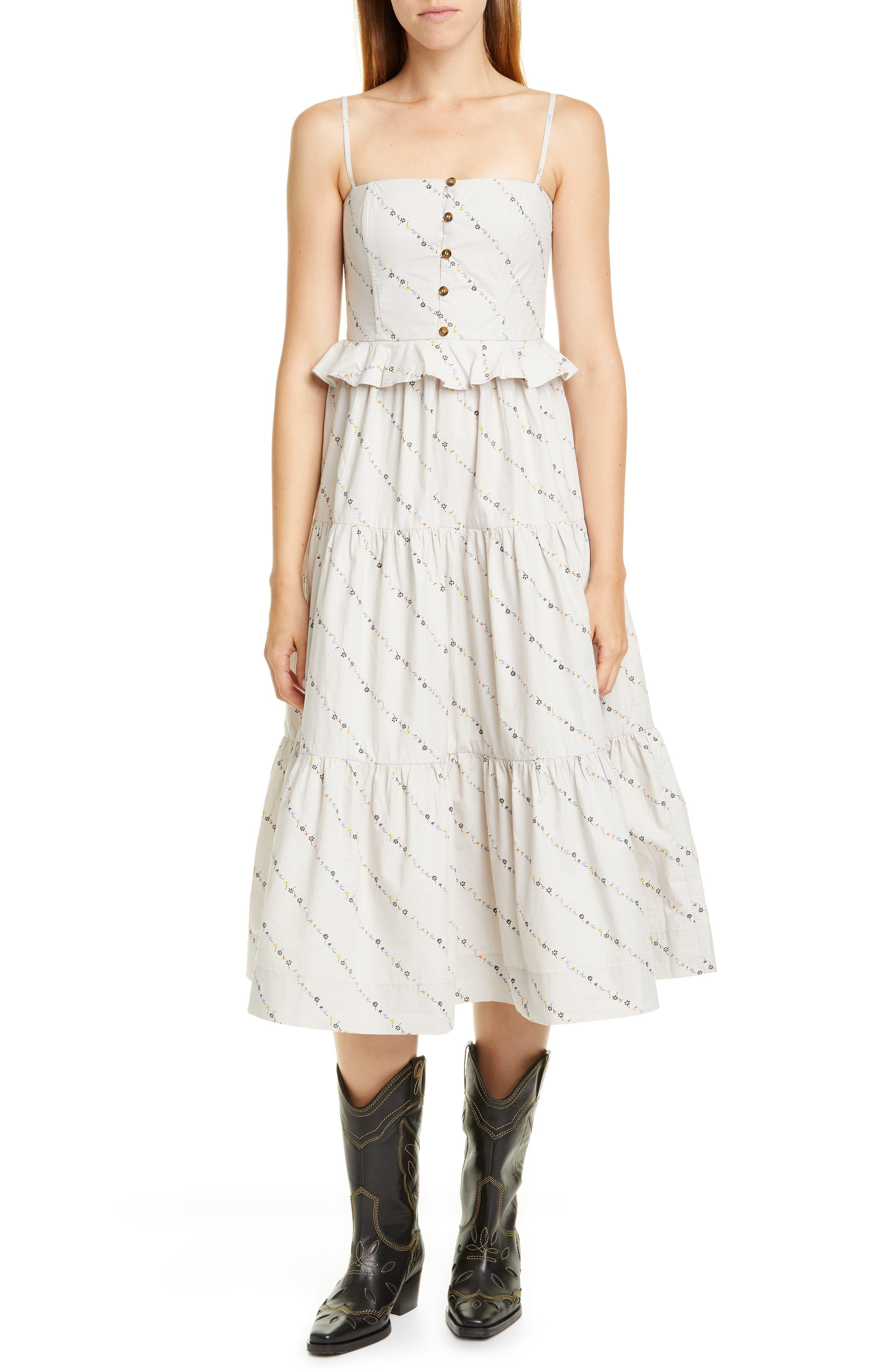 Ganni Dresses Floral Print Poplin Midi Sundress