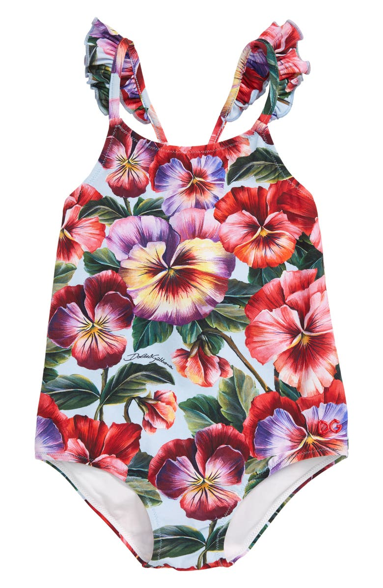 DOLCE&GABBANA Floral One-Piece Swimsuit, Main, color, VIOLETTE FDO.AZZURRO