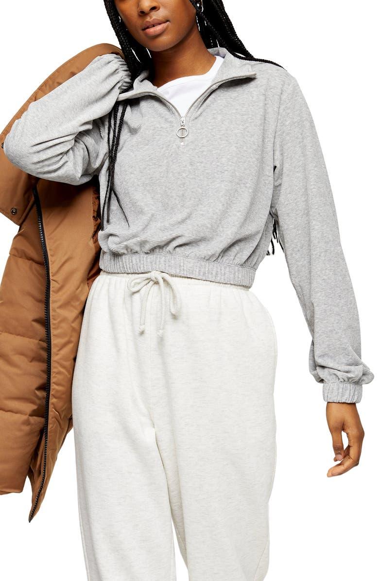 TOPSHOP Velour Half Zip Sweatshirt, Main, color, 020