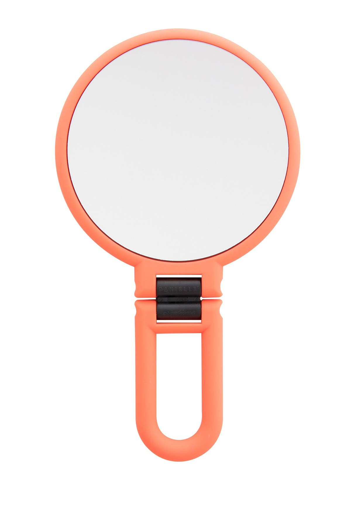 Image of UPPER CANADA SOAPS Danielle Soft Touch Hand Held Foldable Mirror - Neon Coral