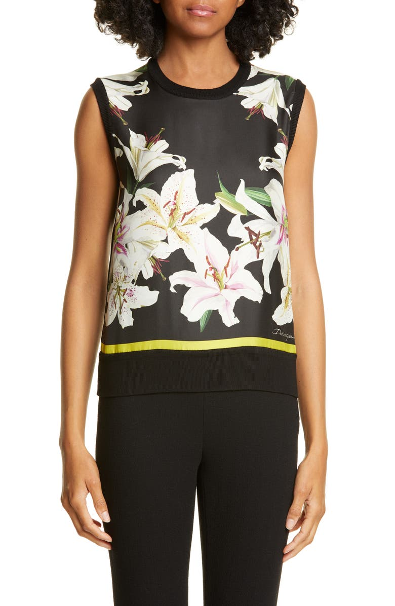 DOLCE&GABBANA Lily Print Panel Silk Tank, Main, color, BLACK LILY