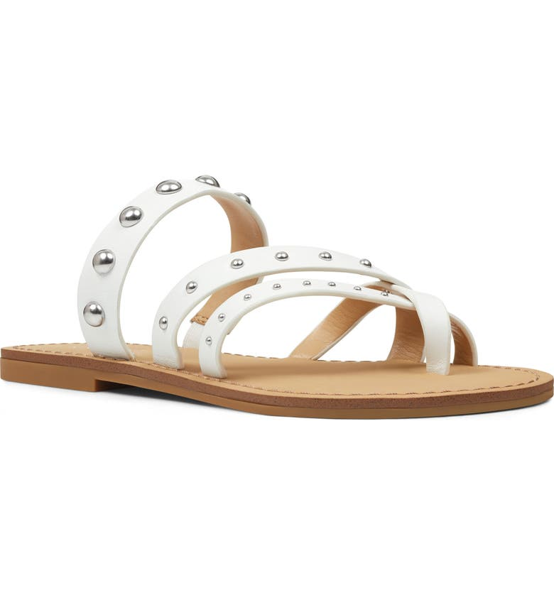 NINE WEST Clara Studded Toe Loop Sandal, Main, color, WHITE LEATHER