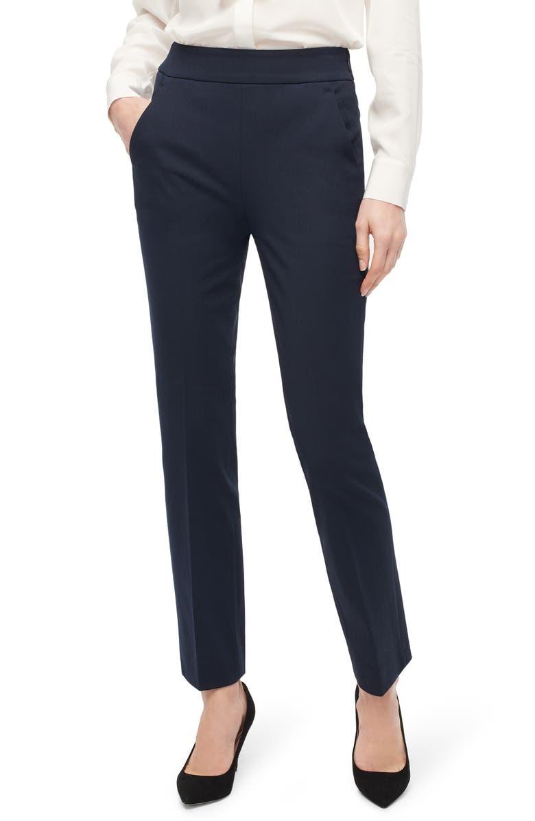 J.CREW Remi Stretch Cotton Pants, Main, color, NAVY