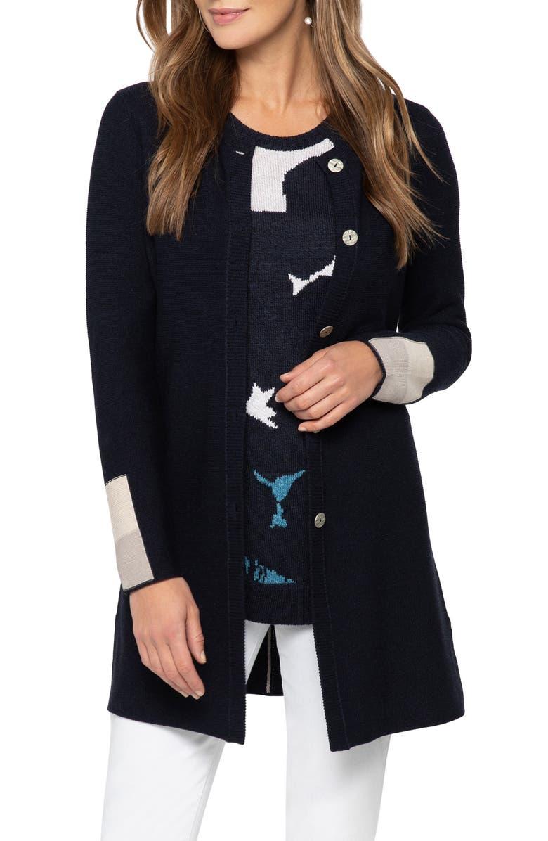 NIC+ZOE Colorblock Sleeve Long Cotton Blend Cardigan, Main, color, DARK INDIGO