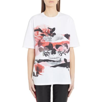 Alexander Mcqueen Rose Skull Graphic Tee, US / 44 IT - White