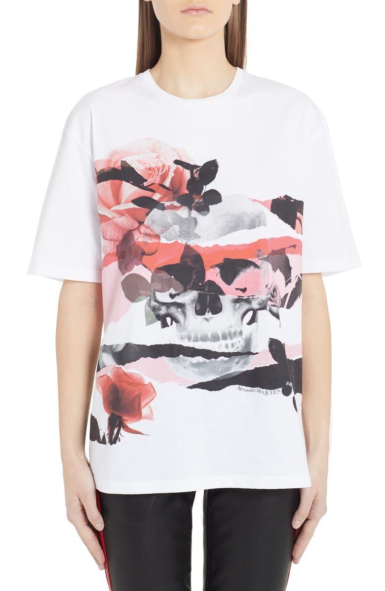 ALEXANDER MCQUEEN Rose Skull Graphic Tee, Main, color, WHITE
