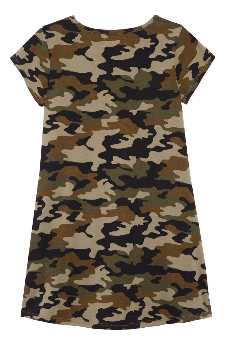 TUCKER + TATE Print T-Shirt Dress, Main, color, OLIVE SARMA CAMOUFLAGE