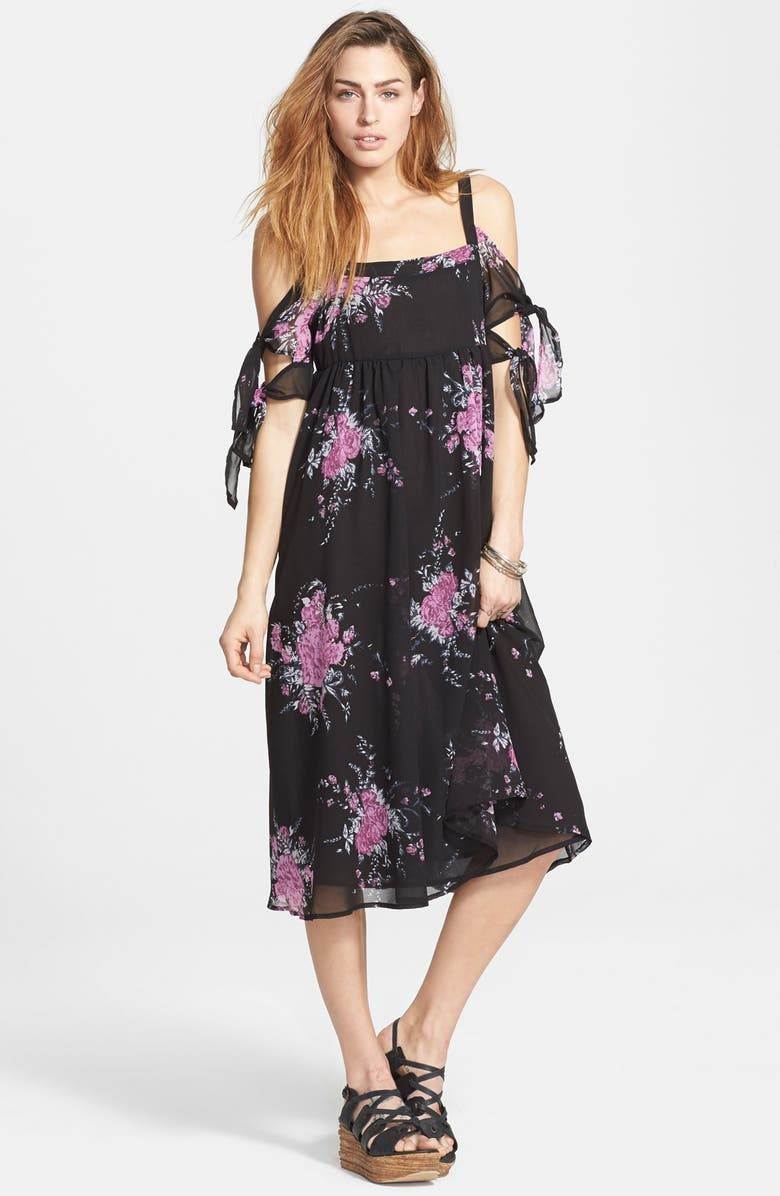 ecb3fe6fedbf Free People 'Tied To You' Floral Print Tie Sleeve Midi Dress | Nordstrom