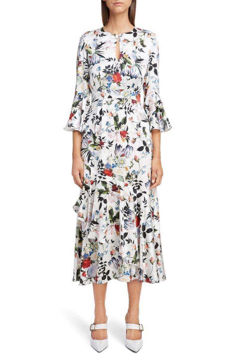 Erdem Floral Silk Satin Frill Midi Dress | Nordstrom