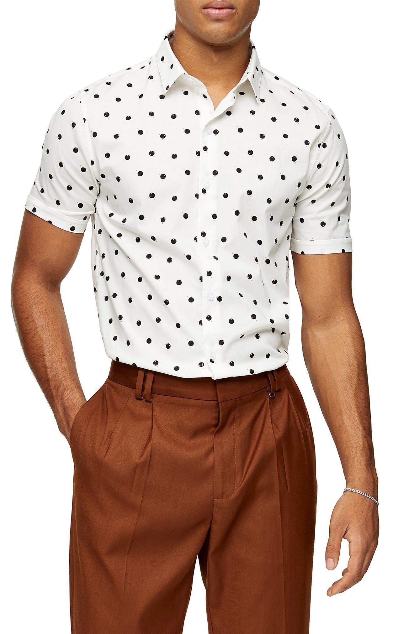 New Mens ID Short Sleeve Button Up Brown Shirt Polka Dot Red Black Front Pocket