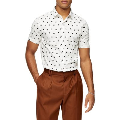 Topman Double Dot Short Sleeve Button-Up Shirt, Beige