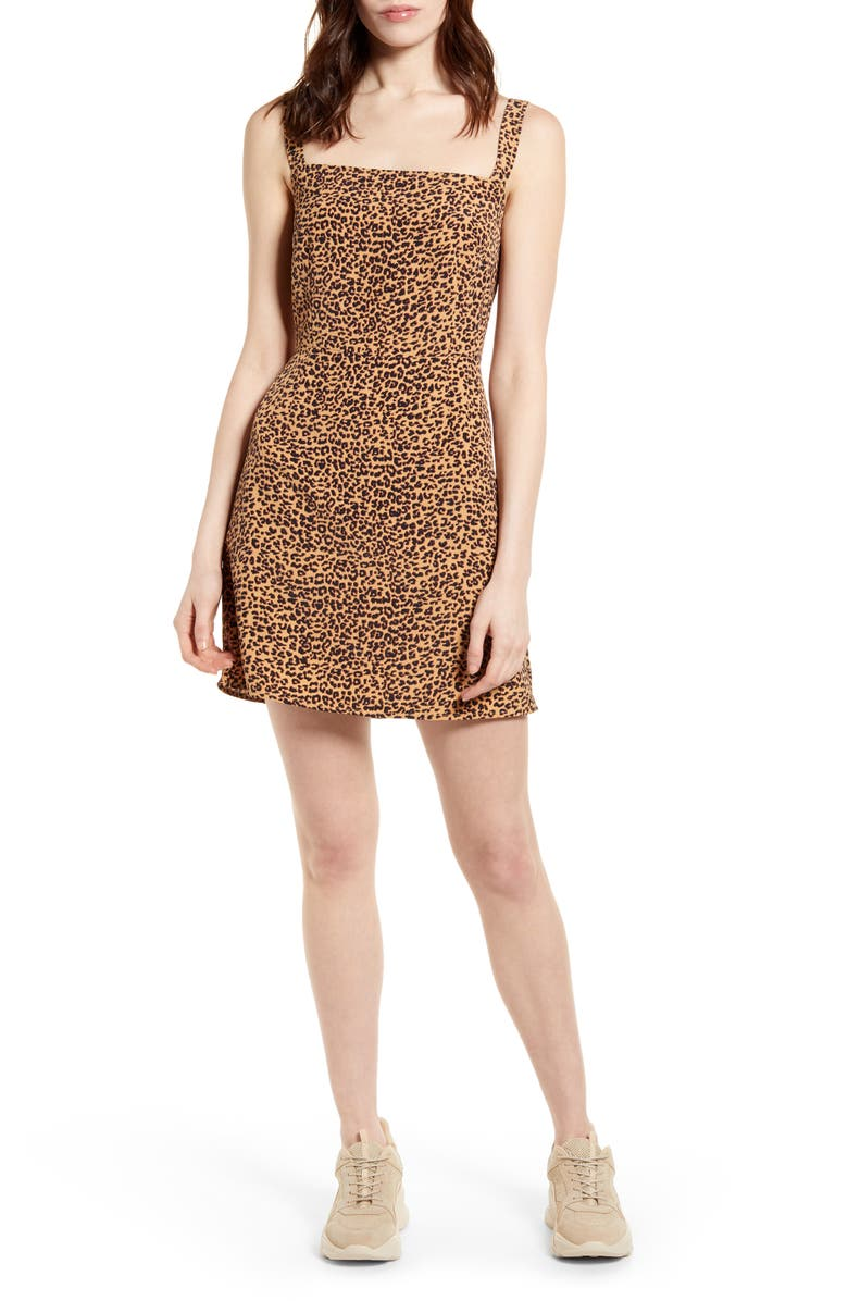 BP. Easy Tank Minidress, Main, color, TAN SMALL SHADOW LEOPARD