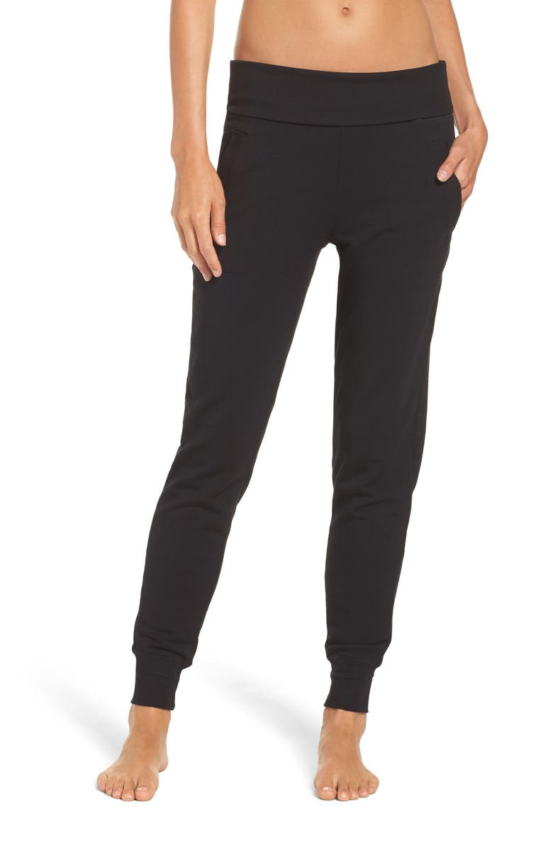 BEYOND YOGA Cozy Fleece Sweatpants, Main, color, BLACK