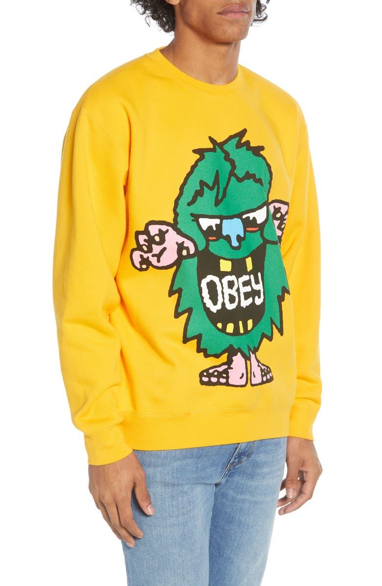 OBEY Creech Graphic Crewneck Sweatshirt, Main, color, GOLD