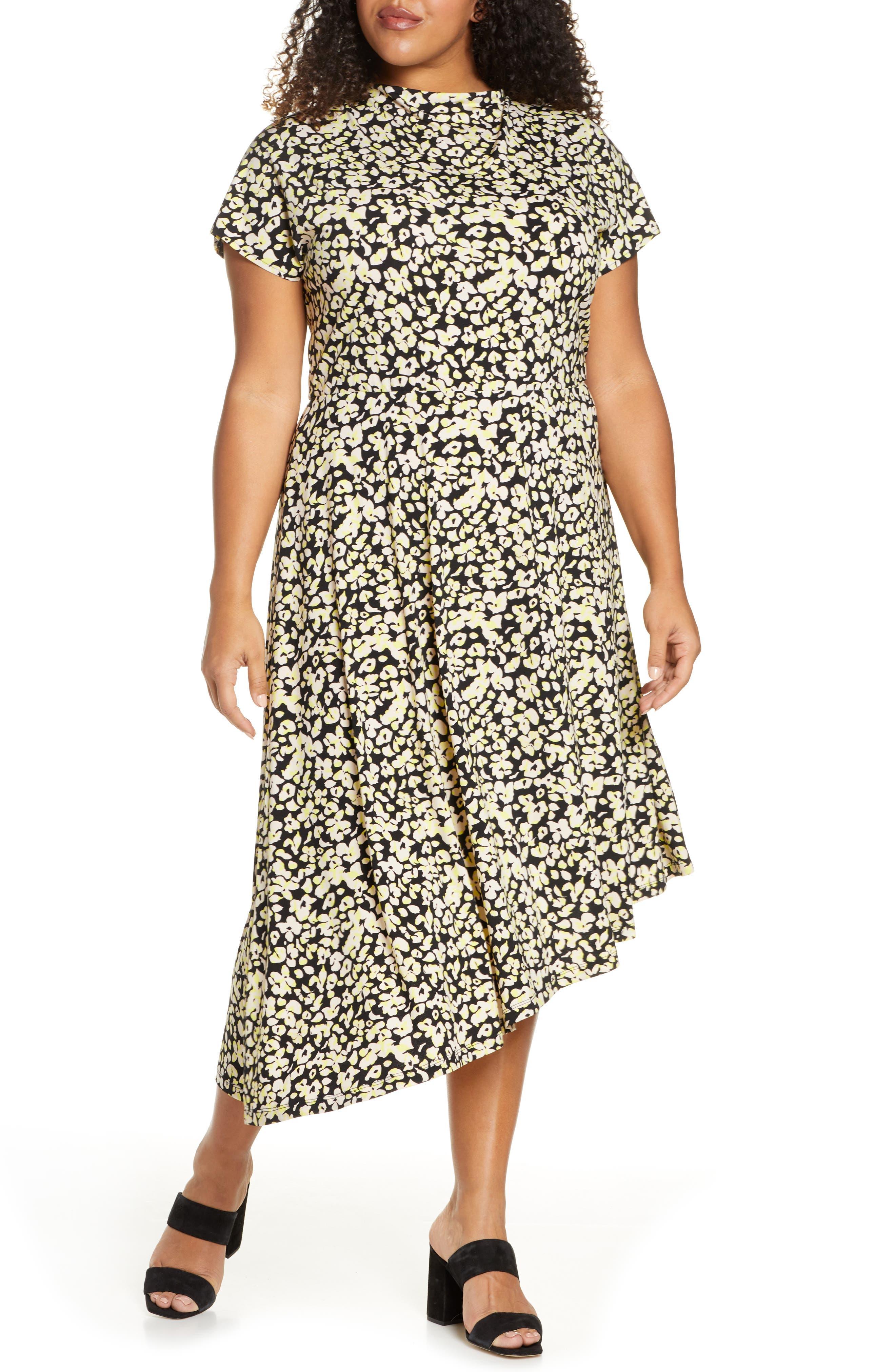 1930s Art Deco Plus Size Dresses | Tea Dresses, Party Dresses Plus Size Womens Eloquii Floral Asymmetrical Hem Stretch Jersey Midi Dress $79.95 AT vintagedancer.com