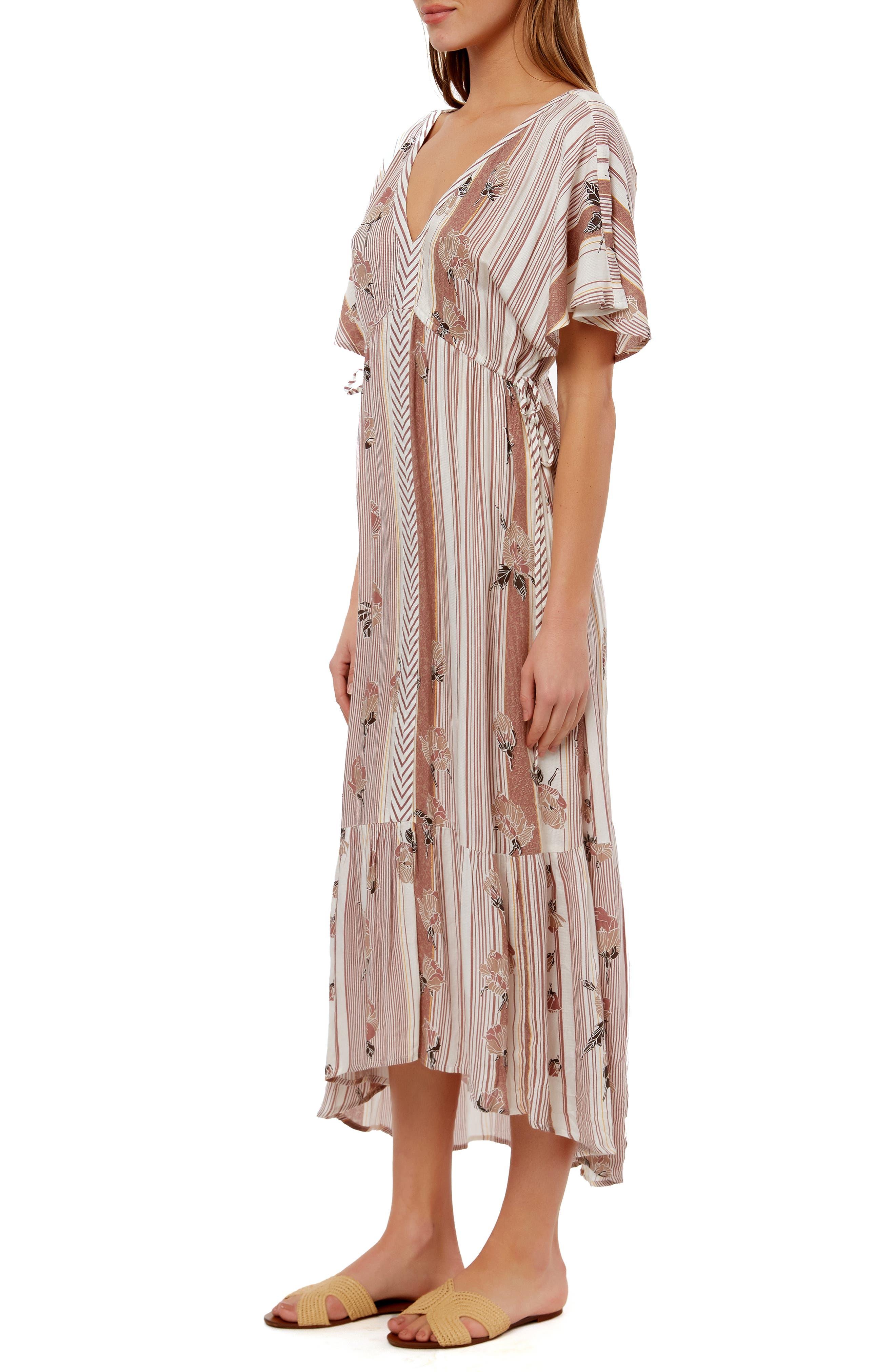 ,                             Angie Floral Stripe Midi Dress,                             Alternate thumbnail 3, color,                             MULTI COLORED