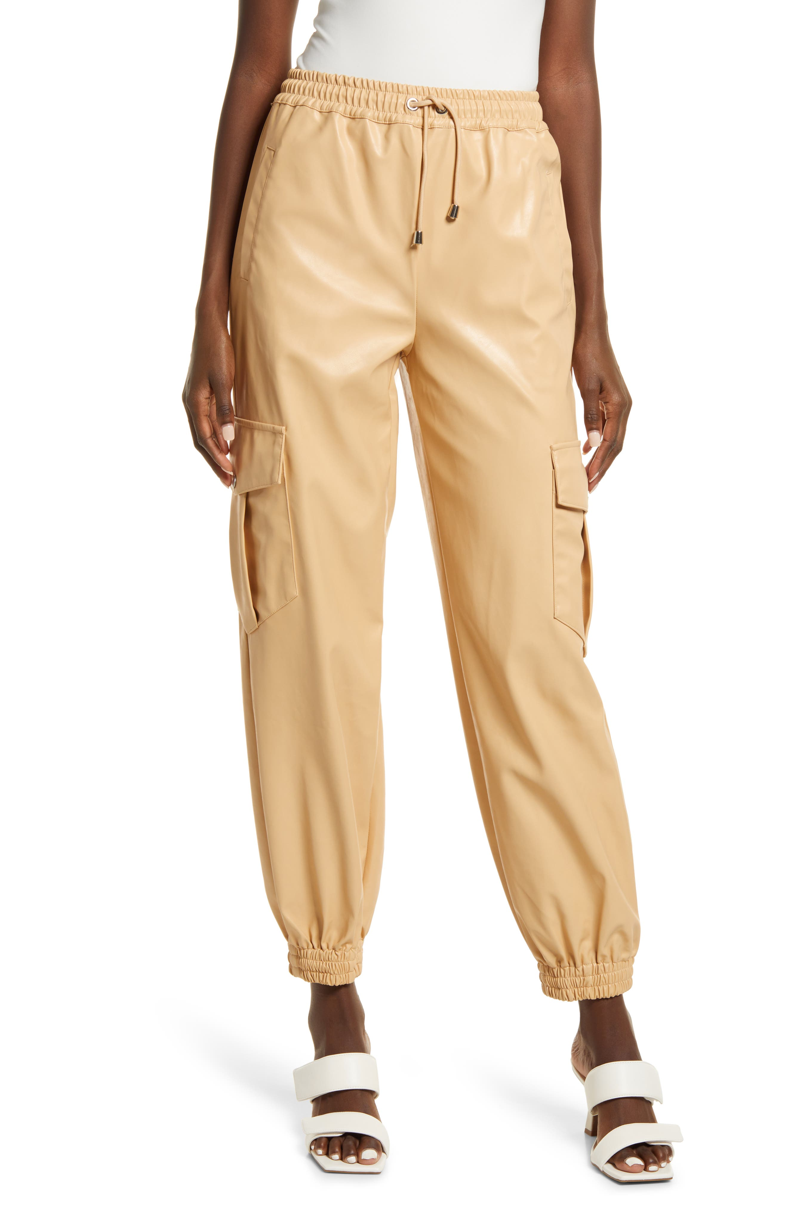 Women's Kendall + Kylie Cargo Faux Leather Joggers
